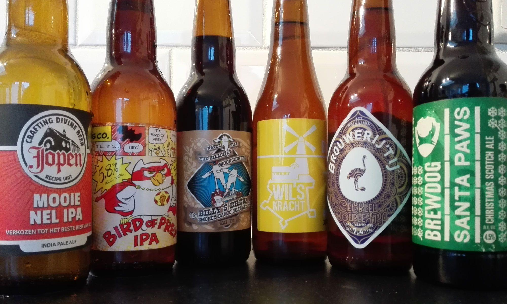 Voorbeeld van bieren gebrouwen door craft beer brouwerijen.