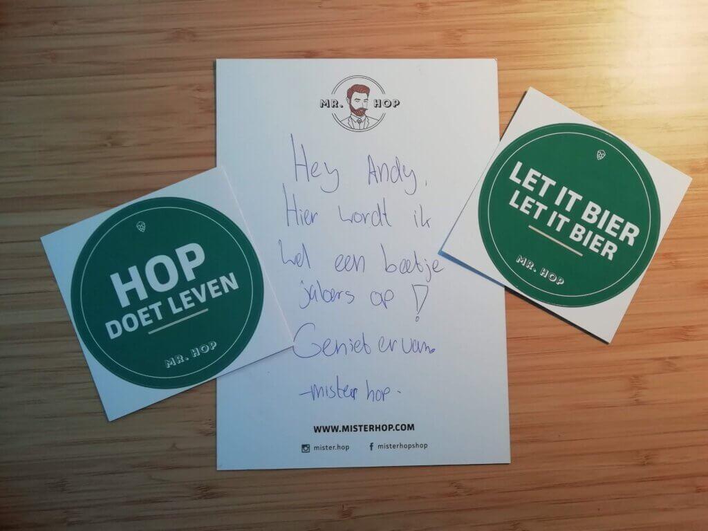 Handgeschreven briefje bij mijn recente bestelling bij Mr. Hop